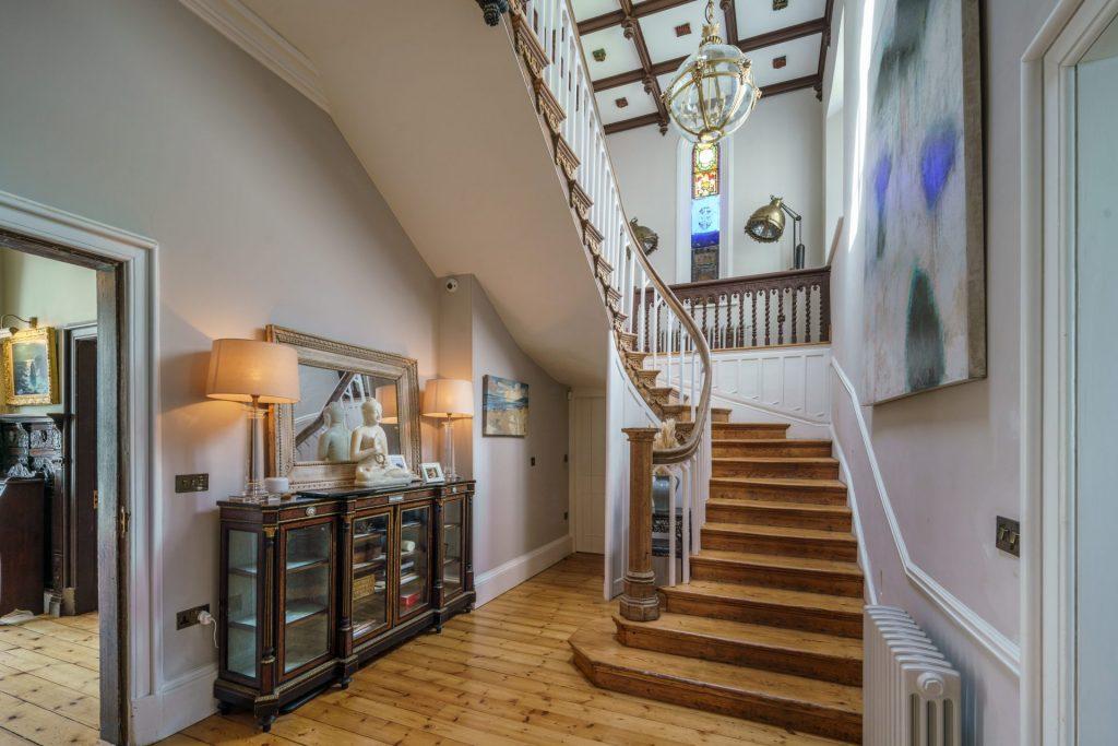 Stairway, Wooden Stairs, Chandelier