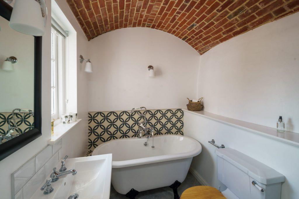 Bathroom, Brick Ceiling