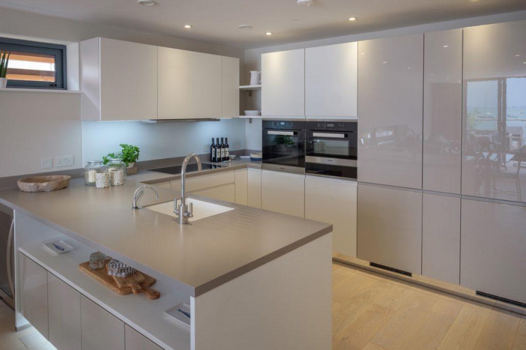Open Plan Modern Kitchen with Seaviews